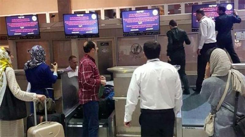 هجوم ماموران حراست فرودگاه تبریز برای خاموش کردن مونیتورهای فرودگاه با هشتگ #اعتصابات_کامیونداران